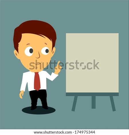 Cartoon concept business man present with the white board  - stock vector