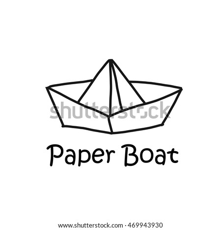 Cartoon concept logotype Paper boat vector illustration