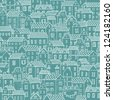 Cartoon concept town. Vintage seamless pattern in vector - stock vector