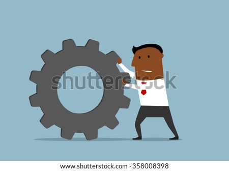 Cartoon confident dark skinned businessman pushing a gear wheel toward the goal. Business concept for business process or team work usage