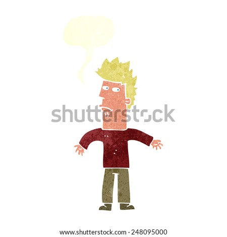 cartoon confused man with speech bubble - stock vector
