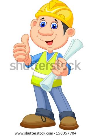 Cartoon Construction worker repairman - stock vector
