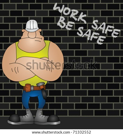 Cartoon construction worker with health and safety message - stock vector