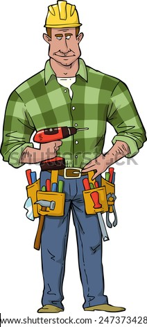 Cartoon construction worker with tools vector illustration - stock vector