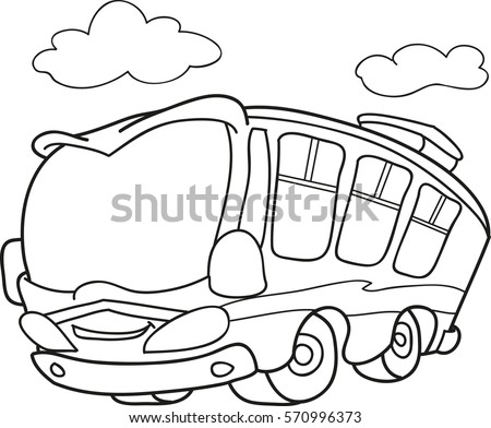 Cartoon Contour Illustration School Bus Coloring Stock Vector ...