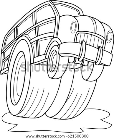 Cartoon Contour Vector Illustration Monster Truck Stock-Vektorgrafik ...