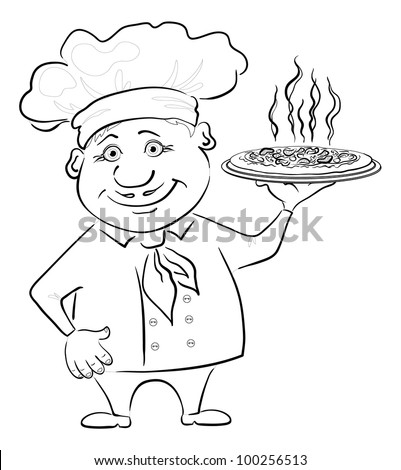 Cartoon cook - chef holds a delicious hot pizza, black contour on white background. Vector
