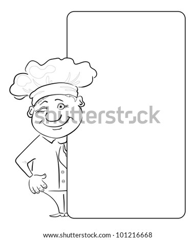Cartoon cook - chef winking looks out poster, free for your text. Contour. Vector - stock vector