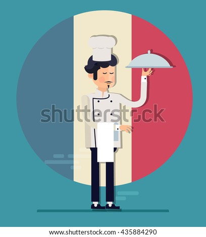 Cartoon cook chefs illustration. Restaurant cook chefs hat and cook uniform. Professions job. Vector characters restaurant staff in trendy flat design. Food service professionals - stock vector
