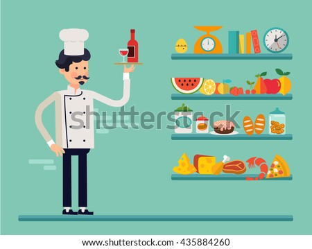 Cartoon cook chefs illustration. Restaurant cook chefs hat and cook uniform with shelf of food. Professions job. Vector characters restaurant staff in trendy flat design. Food service professionals. - stock vector
