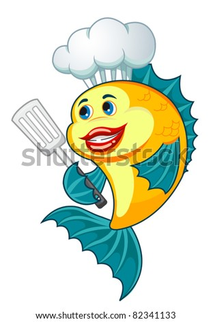Cartoon cook fish with dishware for cooking concept. Rasterized version also available in gallery - stock vector