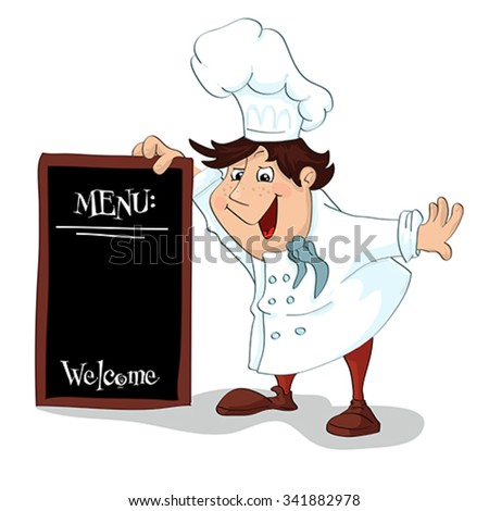 Cartoon cook with menu sign for restaurant. Illustration, vector - stock vector