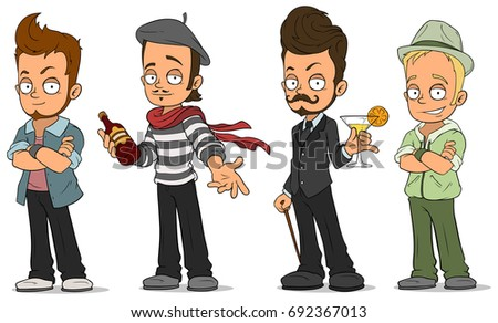Cartoon Characters Guys : Cartoon cool handsome guys alcohol characters stock vector 2018