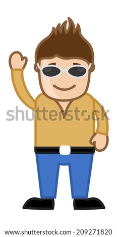 Cartoon Cool Modern Man Saying Hello - stock vector