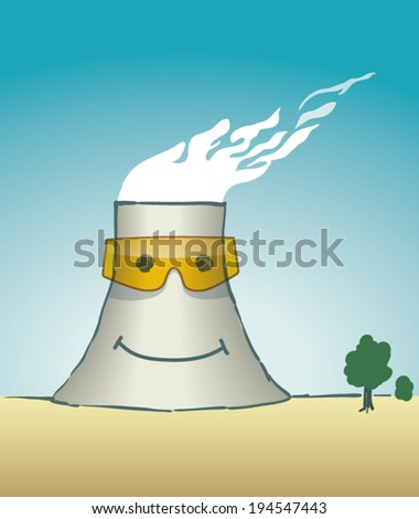 Cartoon cooling tower