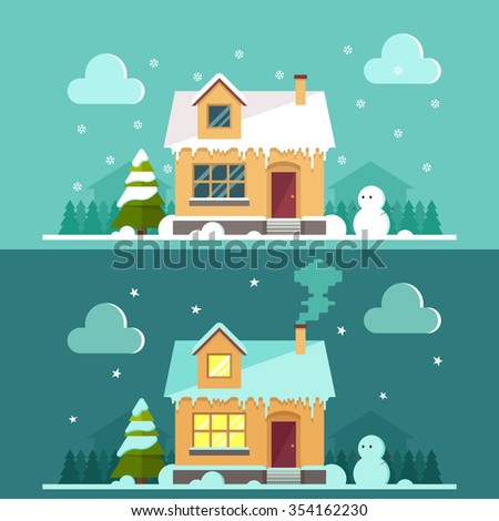 Cartoon Country House - Day and Night. Snowy Trees and Houses on Background. Colorful Vector Illustration