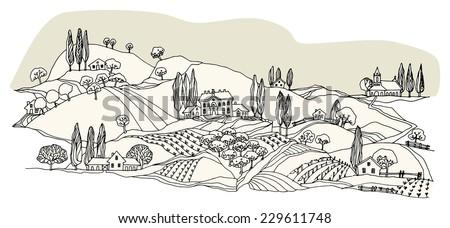 Cartoon countryside - stock vector