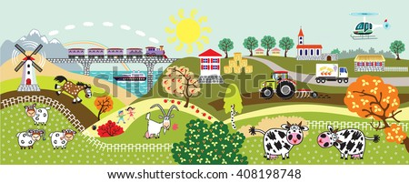 cartoon countryside rural landscape with farm animals,tractor, train, helicopter and mill. Children illustration vector banner