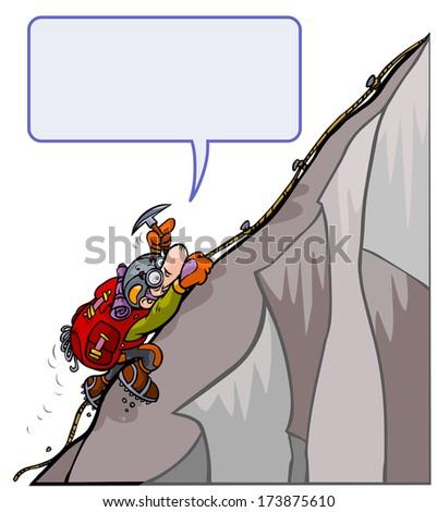 Cartoon courageous Mountaineer.  - stock vector