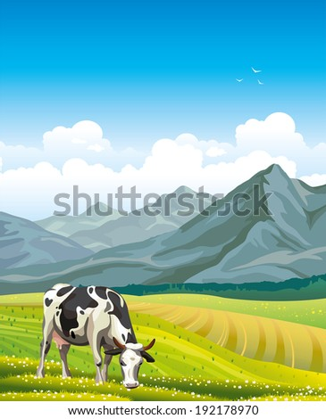 Cartoon cow and rural meadow with green grass on the mountain background. Natural landscape. - stock vector