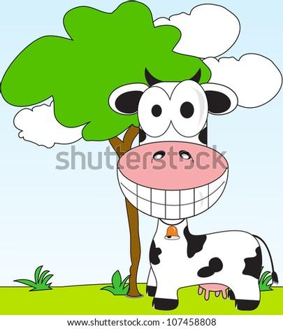 cartoon cow farm in the background - stock vector