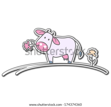 Cartoon cow with flower