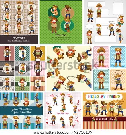 cartoon cowboy card - stock vector