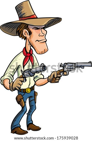 Cartoon cowboy drawing guns. Isolated on white - stock vector