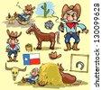 Cartoon cowboy, hand drawn set of comic characters (Part 2) - stock vector