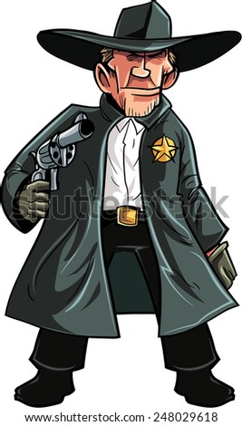 Cartoon cowboy sheriff pulling a gun. Isolated on white