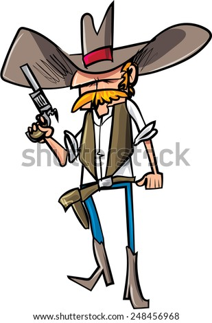 Cartoon cowboy sheriff with gun. Isolated on white - stock vector