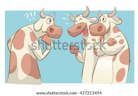 Cartoon cows talking vector illustration - stock vector