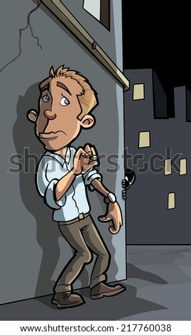 Cartoon crime about to happen in a city street - stock vector