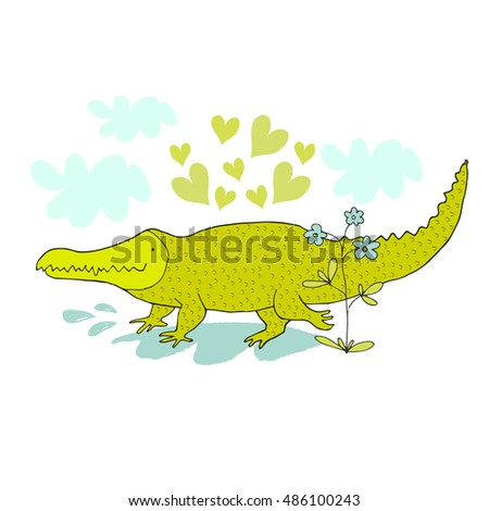 Cartoon crocodile in love. Hand drawn vector illustration. Can be used for kid's or baby's shirt design, fashion graphic, fashion print design, t-shirt and kids wear.