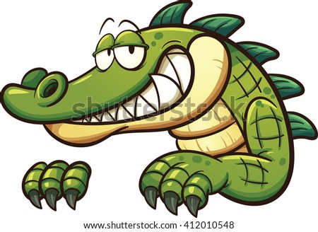 Cartoon crocodile. Vector clip art illustration with simple gradients. All in a single layer.  - stock vector