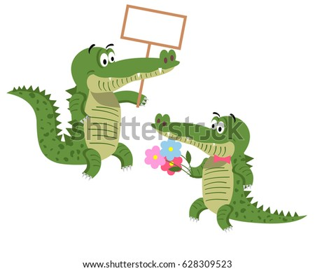 Cartoon crocodiles with empty signboard and with bouquet of flowers with a tie bow isolated on white background. Cute big reptiles vector illustration. Drawn friendly crocs