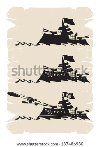 Cartoon cruiser during the war, vector - stock vector