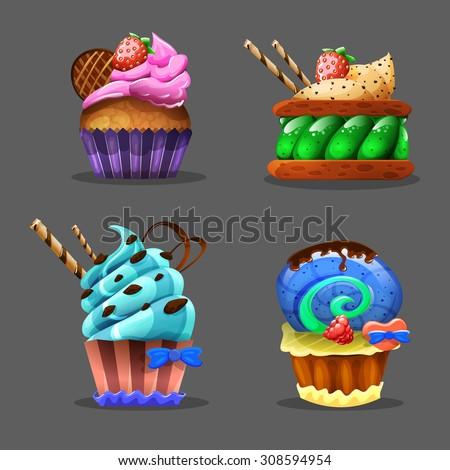 Cartoon cupcake. Vector illustration. - stock vector