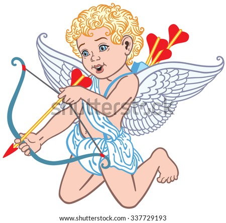 cartoon cupid angel shooting arrow  isolated on white