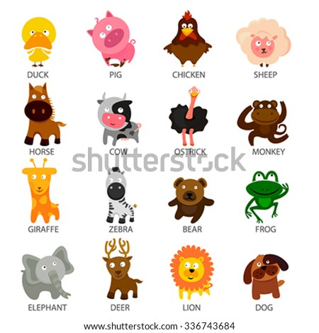 cartoon cute animal set - stock vector