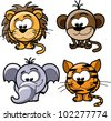 Cartoon cute animals, vector - stock vector
