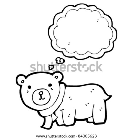 cartoon cute bear with thought bubble