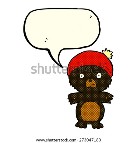 cartoon cute black bear in hat with speech bubble - stock vector