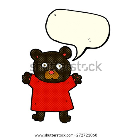 cartoon cute black bear with speech bubble - stock vector