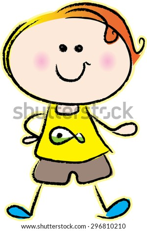 cartoon cute boy with happy face