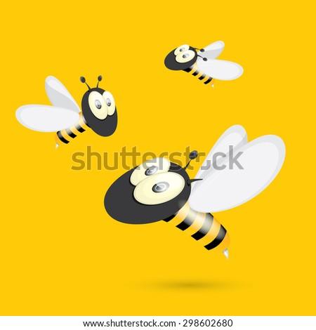 cartoon cute bright baby bee on orange background. vector illustration - stock vector
