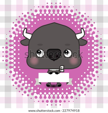 Cartoon cute bull holding a banner with copy space - stock vector