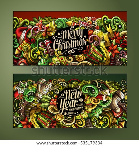 Cartoon cute colorful vector hand drawn doodles New Year season corporate identity. 2 horizontal banners design. Templates set