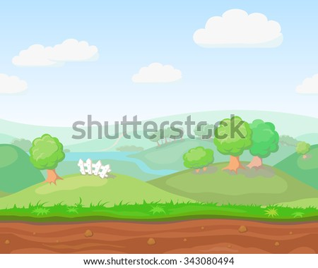 Cartoon cute  country seamless horizontal landscape, nature vector illustration