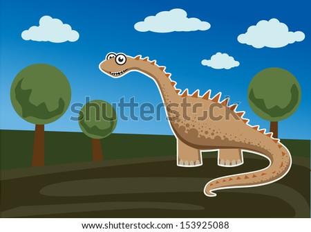 Cartoon, cute dinosaur Ina green landscape, vector illustration